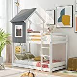 Twin Over Twin Low Bunk Bed, House Bunk Bed with Roof, Wooden House Bed for Kids (Gray and White)