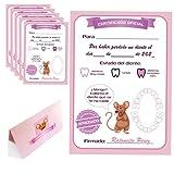 Myfuturshop® Cartas ratoncito Pérez Certificado de diente limpio 10 Unidades. Regalo original para niño y niña. rosa