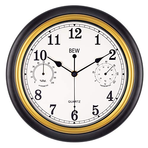 BEW 12 Inch Wall Clock with Thermometer, Retro Decorative Battery Operated Analog Indoor Wall Clock for Bedroom, Living Room (Black-Golden)