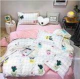 HDBUJ Topfbett Kaktus Weiß Bettbezug, Mit Zwei Kissenbezügen, Mit Reißverschluss, Weiche Polyester Bettwäsche, Leicht Zu Reinigen 220X260Cm
