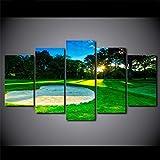 TOPRUN 5 Piezas Cuadro sobre Lienzo De Fotos Campo de Golf Paisaje de Sol en Forma de corazón Lienzo Impresión Cuadros Decoracion Salon Cuadros para Dormitorios Modernos Mural Pared Listo para Colgar