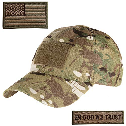 Lightbird Tactical Hat mit 2 Stück Military Patches verstellbar Operator OCP US Flag Hats Cap, Herren, Camouflage, L
