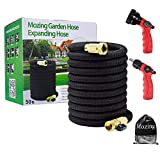 Mozing 50ft Water Hose and Expandable Garden Hose Extra Strength 3750D Fabric with Double Latex Core, 3/4 Solid Brass Fittings Connector with 8 Function High Pressure Spray Nozzle