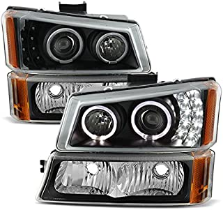 For [Dual LED Halo Ring] 2003-2007 Chevy Silverado | 2003-2006 Avalanche Projector Headlights + Corner Bumper Lamp