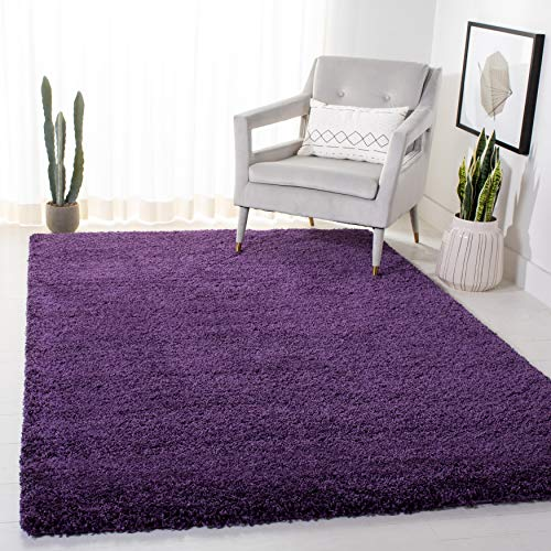 SAFAVIEH Milan Shag Collection SG180 Solid Non-Shedding Living Room Bedroom Dining Room Entryway Plush 2-inch Thick Area Rug, 3' x 5', Purple