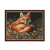 刺繍キットDIY刺繍セット フォレストフォックス54x43cm 初心者向け クロスステッチキット 刺しゅうセット き 刺繍糸 刺繍用布 刺繍工具