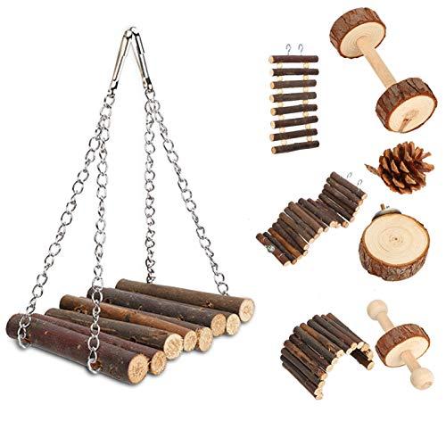 Juguete de escalera para hámster, juguete divertido para hámster, fácil instalación, madera duradera, 8 piezas, columpio de madera para mascotas de hámster, mascota pequeña