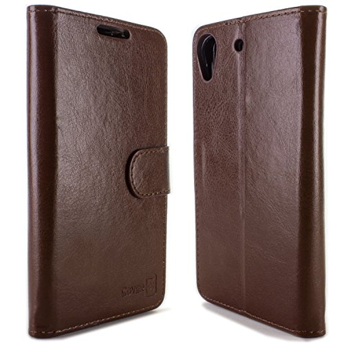 Desire 626 / 626s Wallet Case, CoverON [Executive Series] Synthetic Leather Flip Folio Pouch LCD Protector + Stand Wallet Cover for HTC Desire 626 / 626s - Brown