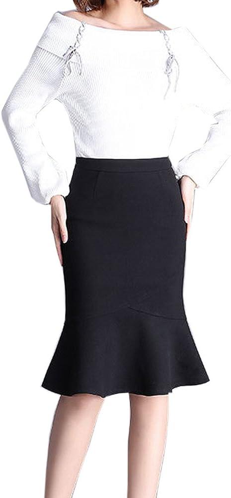 Blansdi Women Elegant Wear to Work Knee Length Bodycon Midi Mermaid Pencil Skirt