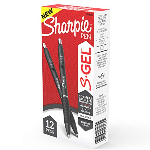 Sharpie SGel Gel Pens Medium Point 07mm Black Ink Gel Pen 12 Count