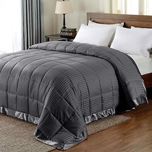 downluxe Lightweight King Down Alternative Blanket with Satin Trim, Gray, 90 X 108 Inch