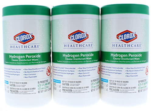3 Pk. Clorox Healthcare Hydrogen Peroxide Cleaner Disinfectant Wipes 6.75' x 5.75' 95 Count (285 Count Total)