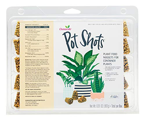 Osmocote 4005810 PotShots: Premeasured Outdoor and Indoor House Plant Food, Slow Release, 25 Nuggets to Feed for up to 6 Months, ct, Brown