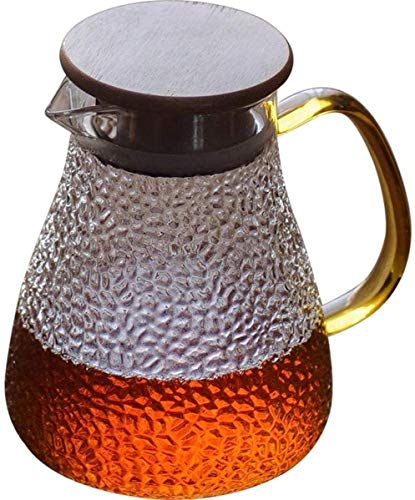GHJA Jarra con Tapa y sin Fugas de Agua Jarra de Vidrio Agua fría Caliente Té Helado Vino Café Leche Jarra Taza de té (Tamaño: 1200 ml)