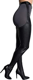 AZALEA WANG Black Faux Leather Stiletto Heel Thigh High Sexy Belted Suspender Chaps Boots