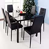 Merax. 7-Piece Dining Set Glass Top Metal Table 6 Person Table and Chairs (55 Inch, Black)