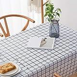 DJUX Nappe simple style pastoral en tissu de table de table basse en jacquard ronde, Grille noire et blanche., 135x220cm