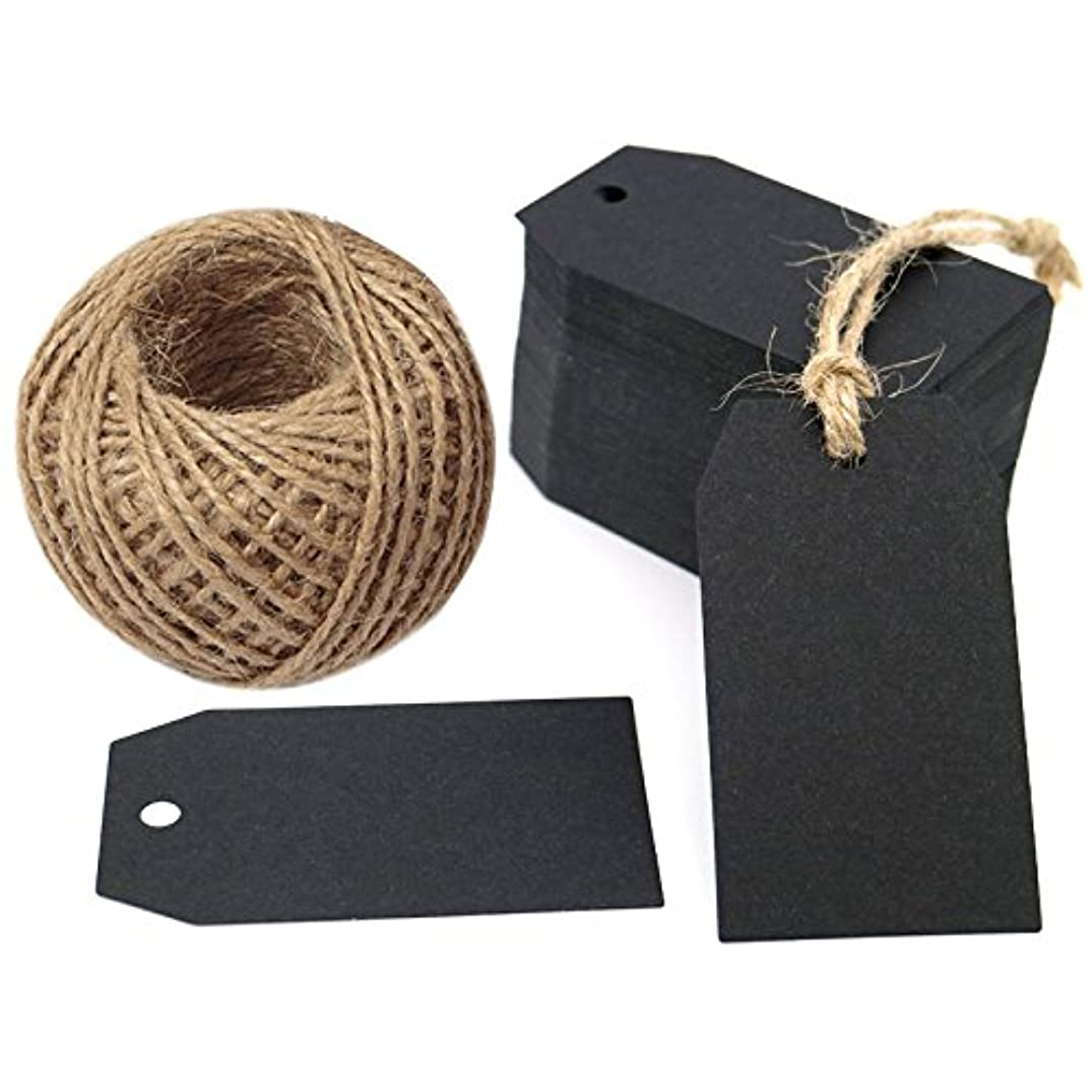 G2PLUS 100 PCS Kraft Gift Tags 2.7''x 1.5'' Craft Tags with String Blank Hang Tags with 100 Feet Jute Twine (Black)