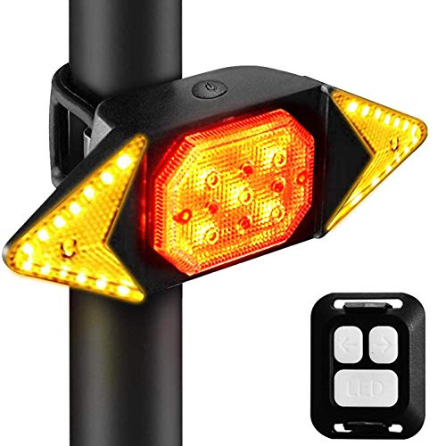 Leeko Bike Tail Light, LED Bike Turn Signal Lights Wireless Remote Control Waterproof, Cycling Warning Direction Indicator Laser Light, USB Rechargeable, Easy to Install, for Bike Headlight and Taillight Set