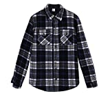 ZENTHACE Men's Warm Sherpa Lined Fleece Plaid Flannel Shirt Jacket(All Sherpa Fleece Lined) Navy/Beige XL by