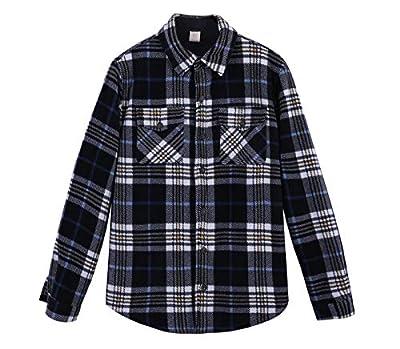ZENTHACE Men's Warm Sherpa Lined Fleece Plaid Flannel Shirt Jacket(All Sherpa Fleece Lined) Navy/Beige XL by