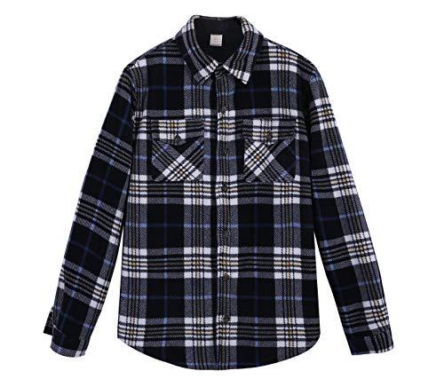 ZENTHACE Men's Warm Sherpa Lined Fleece Plaid Flannel Shirt Jacket(All Sherpa Fleece Lined) Navy/Beige L