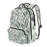 MAHU Backpack Funny American Dollar Money Detachable College Bag Travel Zipper Bookbag Hiking Shoulder Crossbody Bag Daypack for Women Men