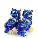 Win-Y Patins à roulettes Roller Quad Enfant réglables pour Enfants et Adolescents, idéal pour Les débutants, Patins à roulettes Confortables pour Les Filles et Les garçons (Bleu, L)