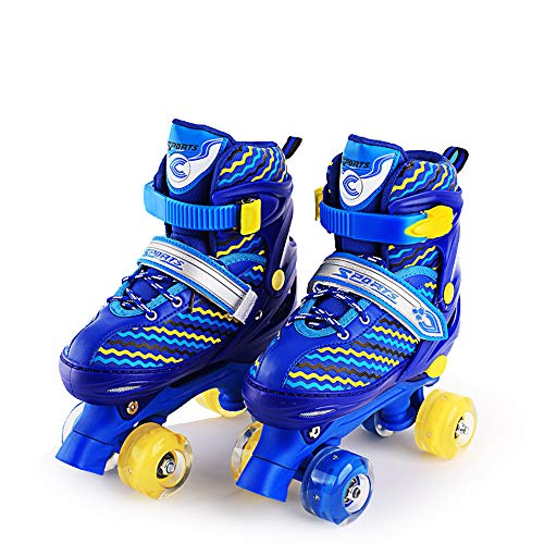 Win-Y Patines Quad, Ajustables estables Roller Skates para niños y niñas Principiantes (Azul, L)