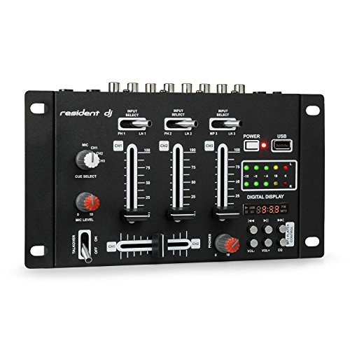 Resident DJ DJ-21 - DJ-Mixer, Mesa de Mezclas, 3/2 Canales, Compacta, USB, Entrada RCA, Toma de teléfono, Controlador Cue, Controlador de micrófono, Fácil de Usar, 18 interruptores, Negro