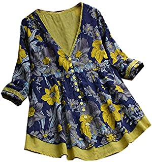TOOGOO Spring Autumn Women Long Sleeve V Neck Yellow Blouse Boho Floral Printed Cardigan Loose Shirt Patchwork Button-Up Tops Female S