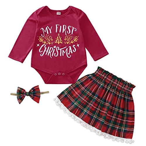 GNYD (3-18 M Abito di Natale A Manica Lunga per Bambini Gonna A Frange Scozzese Cinghia per Capelli Imposta Il Mio Primo Natale(Rosso;80)