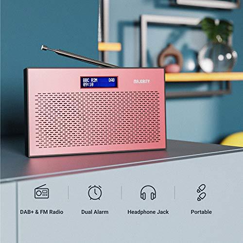 Majority Histon II DAB/DAB+ Digital & FM Portable Radio, Dual Alarm Clock, Battery Portable or Mains Powered (Rose)