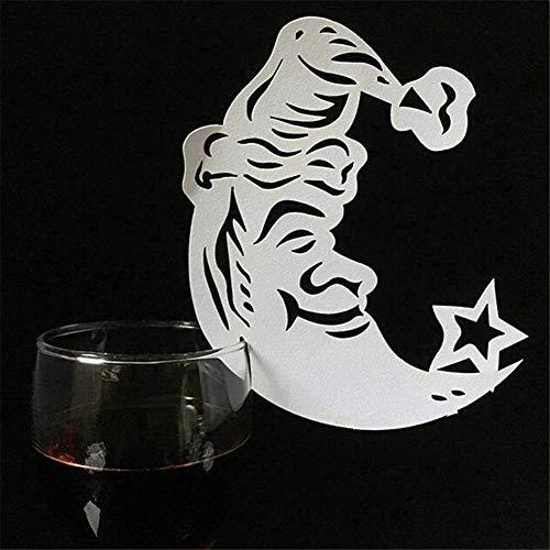 50 stks Wijnglas Cup Kaarten Laser Gesneden Parelgeur Escort Naam Plaats Kaarten Bruiloft Party Favor Tafeldecoratie Small Size Cartoon Moon
