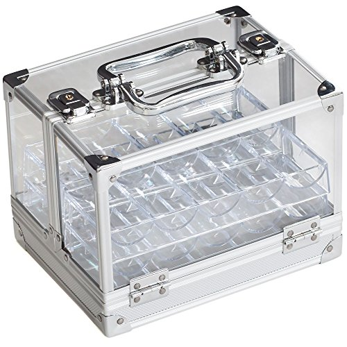 GSE Games & Sports Expert 600-Piece Acrylic Chip Case   600 Count Chip Carrier with 6 Chip Trays (Chip Case + 6 Trays)
