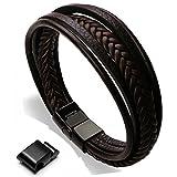 murtoo Homme Cuir Véritable Bracelet et Acier Inoxydable Bracelet Multi Tissé Réglable Noir ou Marron Cuir Bracelet pour Les Hommes Cadeaux de Noël - Marron 1