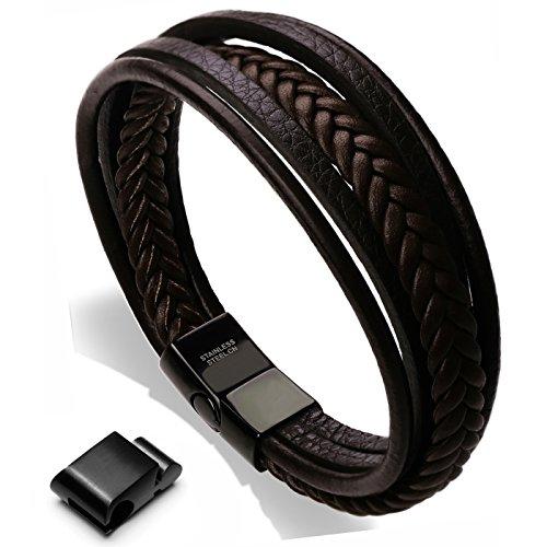 Murtoo Men's Adjustable Genuine Multi-Woven Genuine Leather and Stainless Steel Bracelet, Black or Brown Marron,22.5