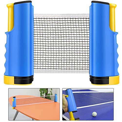 Weeygo Tischtennisnetze Tischtennis Netze, Justierbarer Einziehbares Netz Ping Pong Ersatznetz, Beweglicher Reisehalter - Einstellbare Länge 170(max) x 14,5cm (Bleu)