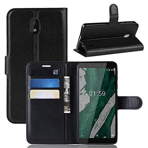 Fertuo Nokia 1 Plus Hülle, Handyhülle Leder Flip Case Tasche mit Standfunktion, Kartenfach, Magnetschnalle, Silikon Bumper Bookstyle Schutzhülle Wallet Cover für Nokia 1 Plus, Schwarz