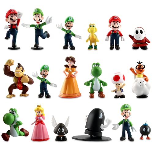 Super Mario Cupcake Toppers, Figuras de Super Mario Bros para Decoración de Tartas, Suministros para Decoración de Tartas,Decoración de Fiestas, Decoración de Mesa, Figuras Coleccionables (18 PCS)