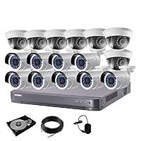 防犯カメラ 16台 DVR 16ch HDD 4TB付き 防犯カメラセット 243万画素 監視カメラ HD-TVI 動体検知 赤外線 防水 スマホ 遠隔監視 屋内 用 7台 屋外 用 9台