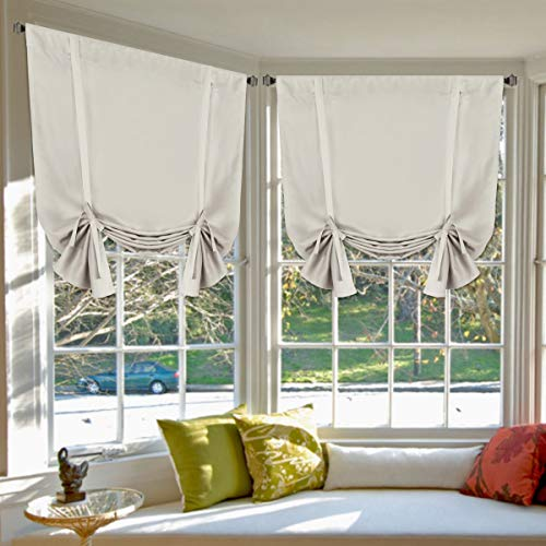 """H.Versailtex Blackout Innovated Tie Up Shade & Curtain Thermal Insulated Rod Pocket Curtain Panel (Set of 2 Panels, 42"""" Wide by 63"""" Long, Solid in Cream)"""
