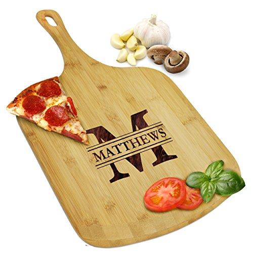 Custom Personalized Pizza Peel Bamboo Wood Paddle Board - Housewarming Pizza Lovers Idea