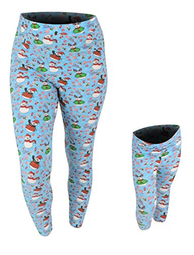 Unique Baby Girls Christmas Snowman Leggings Matching Mommy and Me (3t) Blue