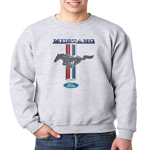 Licensed Ford Crewneck Sweatshirt Mustang Horse Power Mens S-3XL (Heather Gray, L)