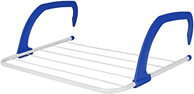 EZ Life Portable & Strong Indoor Outdoor Folding Metal Clothes Hanging Drying Rack with 5 Clothes Line - 3 Kilo Capacity - Blue (45 X 37 X 16 Cms)