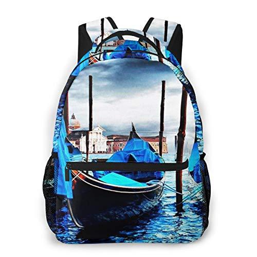 Rucksack Männer und Damen, Laptop Rucksäcke für 14 Zoll Notebook, Boote Venedig Italien Sonnenuntergang 36 Kinderrucksack Schulrucksack Daypack für Herren Frauen