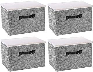 MU Grandes boîtes de rangement pliables avec poignées Boîtes de couverture Boîtes de rangement pour la salle de bain Armoi...