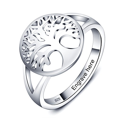 Love Jewelry Personalized Family Tree of Life Rings for Women Engraved Rings for Grandmother Mothers Ring with Names (8)