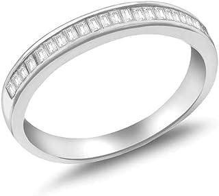 Tuscany Silver 女士纯银镀铑长阶梯形切割方晶锆石戒指